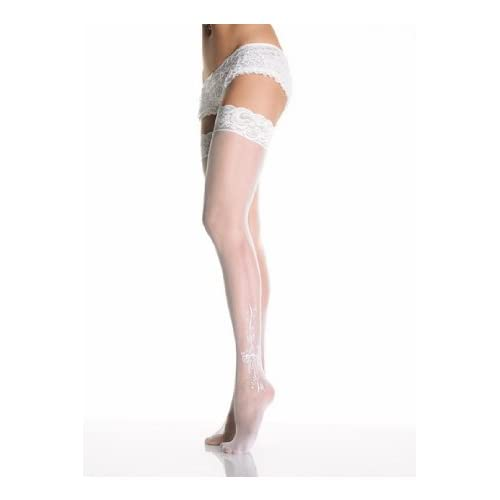 Sexy Bridal Sheer Lace Top Stockings With Woven Bows And Floral Pattern Lingerie Leg Avenue