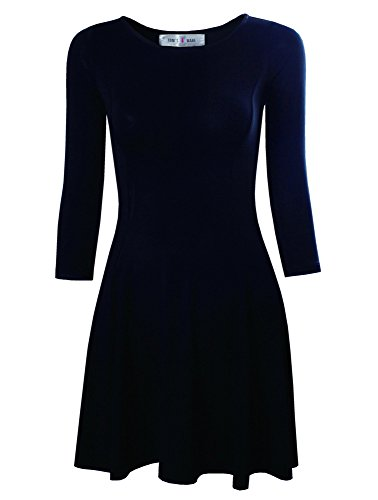 Tom's Ware Women's Casual Slim Fit and Flare Round Neckline Dress TWCWD052-BLACK-US M(Tag Size L)