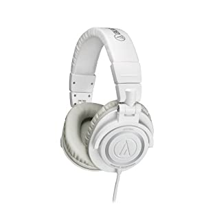 Audio-Technica ATH-M50WH Professional Studio Monitor Headphones with Coiled Cable, White