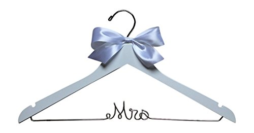 Mrs Hanger for Wedding Dress White Wood Premium Hanger with Silver Wire