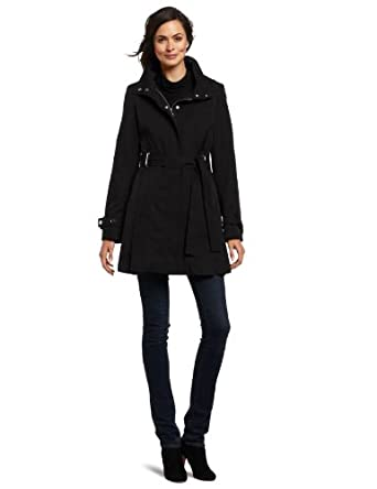 Via Spiga Women's Belted Trench with Removable Hood, Black, Medium