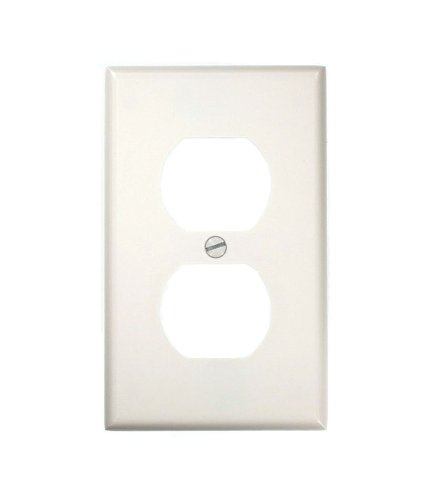 Leviton 88003 1-Gang Duplex Device Receptacle Wallplate, Standard Size, Thermoset, Device Mount, White