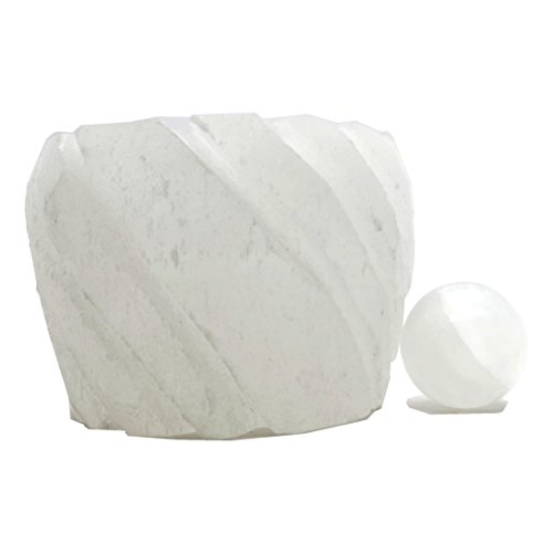 Selenite Set 01 White Candle Holder Marble Ball Sphere Crystal Healing Lot (Set of 2) (Elf Set And Seal compare prices)
