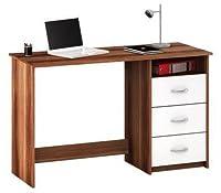 Schreibtisch Nussbaum/weiß