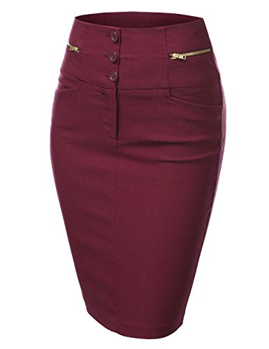 J.Tomson Womens Detailed Pencil Skirt Burgundy Medium