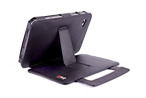 Duragadget Genuine Leather Protective Case with Stand for 7 inch Samsung Galaxy Tab - Black