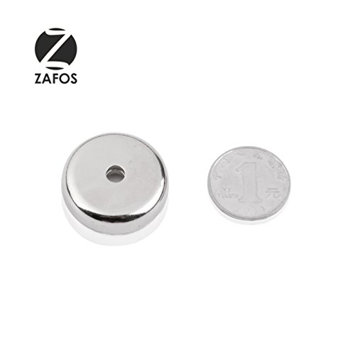 Zafos Neodymium Round Base Rare Earth Magnets, 88lb Holding Force, 1.26-Inch Diameter, Countersunk Hole for 10 Bolt, 1pc U-Shaped Assembly
