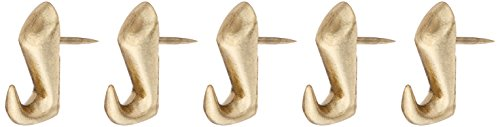 Hillman Fasteners 122206 10-Pound Push Pin Hanger, Brass Finish (Pack of 5)