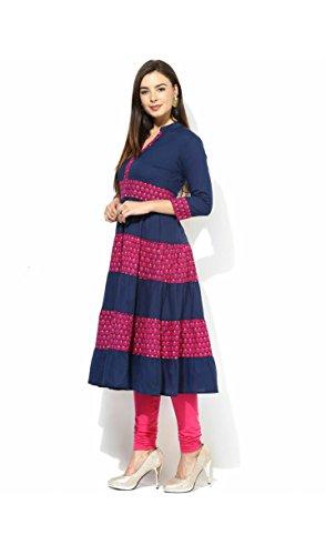 AnjuShree-Choice-Womens-Cotton-Blue-Stitched-Anarkali-Kurta-Kurti
