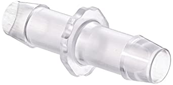 "Value Plastics N680-9 Straight Through Tube Fitting with 600 Series Barbs, 1/2"" (12.7 mm) ID Tubing, Clear Polycarbonate (25-Pack)"