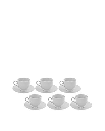 10 Strawberry Street Set of 6 Royal White Sophia Cups & Saucers, White