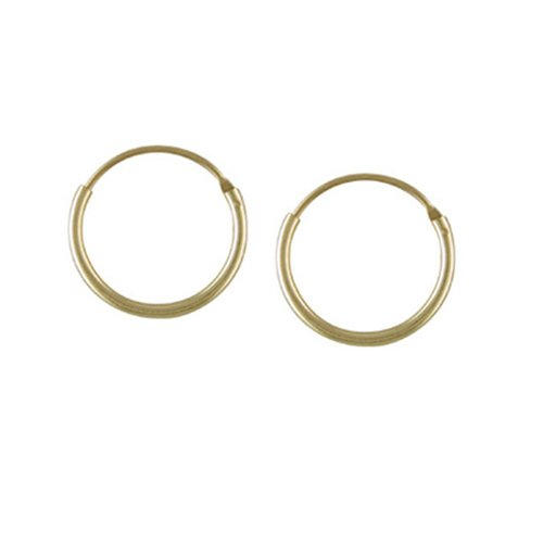 9ct Yellow Gold 13mm Hoop Earrings Top Hinged Sleeper