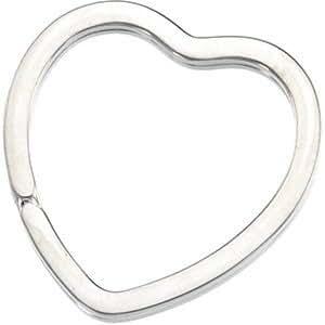 Sterling Silver Heart Shaped Split Key Ring Keychain