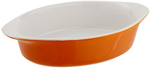 Mario Batali by Dansk Stoneware 8.5-Inch Oval Au Gratin, Medium, Persimmon