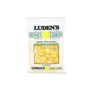 Ludens Cough Drops Bag Honey Lemon - 30 Drops / Bag, 12 Bags