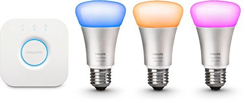 Philips Hue White and Color Starter Kit, Include 3 Lampadine E27 e 1 Bridge Hue, Imballaggio apertura facile