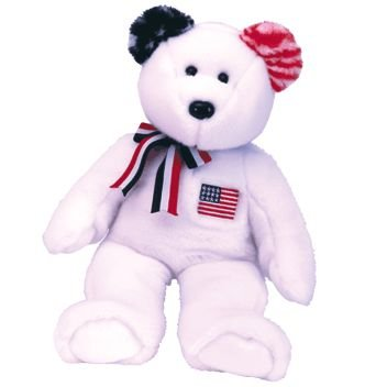 1 X TY Beanie Buddy - AMERICA the Bear ( White Version )