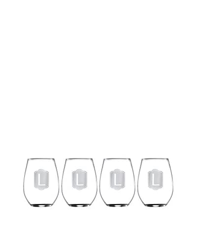 Jay Imports Set of 4 Monogram L Stemless Wine Glasses