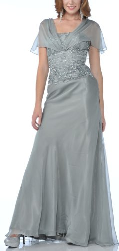 Zeilei Lace Emboridery Chiffon Mother of Bride Dress in Silver