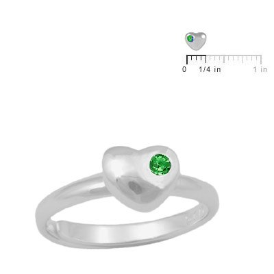 Girls Silver May Birthstone Heart Ring Adjustable