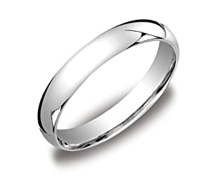 Men's 18k White Gold 4mm Comfort Fit Plain Wedding Band - Gay Wedding