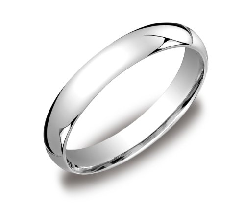 Men's 14k White Gold 4mm Comfort Fit Wedding Band Ring, Size 10.5
