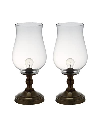 Safavieh Set of 2 Blackburn Hurricane Lamps, Clear/Bronze