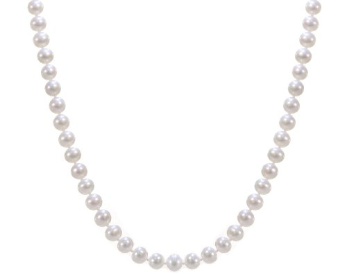 Classical 925 Sterling Silver 7.0-7.5mm Cream Pearl Women Necklace - 16.9 inch