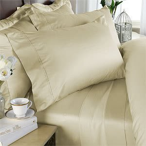 Italian 1000 Thread Count Egyptian Cotton Duvet Cover Set , Queen, Ivory Solid, Premium Italian Finish front-613275