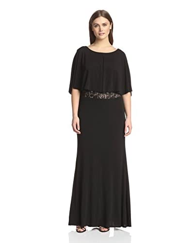 A.B.S. by Allen Schwartz Women's Cape Sleeve Lace Waist Gown