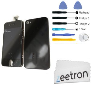 Iphone 4S Front Glass Digitizer Screen Assembly Black, Back Door Assembly, 8P Tool Kits, 5 Star Pentalobe Screw Driver, Zeetron Microfiber Cloth front-55833