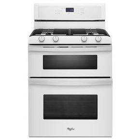"Whirlpool Wgg555S0Bw 30"" White Gas Sealed Burner Double Oven Range - Convection front-19634"