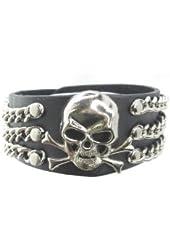 Skull Crossbone 3 Rows Chain Black Leather Heavily Metal Wristband Bracelet Cuff