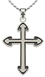 New 0.925 Sterling Silver Heart Cross Religious Pendant Necklace