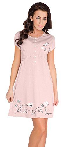 Dn-Nightwear TCB.7029 Camicia Da Notte Di Maternita, M, Moca