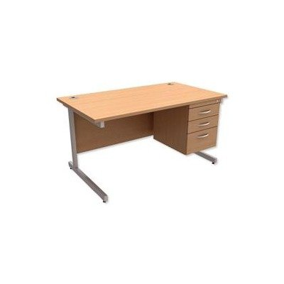 416361 - Trexus Contract Desk Rectangular with 3-Drawer Pedestal Silver Legs W1400xD800xH725mm Beech
