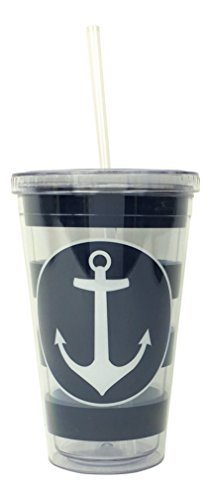 Nautical Anchor Striped Double Walled Insulated Travel Tumbler Cup with Lid and Straw
