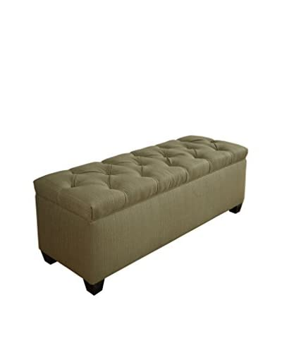 MJL Furniture Sole Secret Large Upholstered Shoe Storage Bench, Light Green