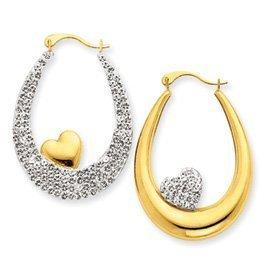PriceRock 14k Gold Reversible Crystal Heart Hoop Earrings