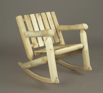 """33"""" Natural Cedar Log-Style Outdoor Wooden Low-Back Rocking Chair front-735413"""