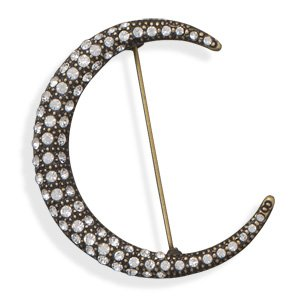 43mm Brass and Clear Crystal Crescent Moon Fashion Pin Nickel Free And Lead Free - JewelryWeb