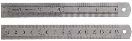 SE 0706569926682 Ruler 6-Inch Double Sided S.A.E/MM, 2-Pack