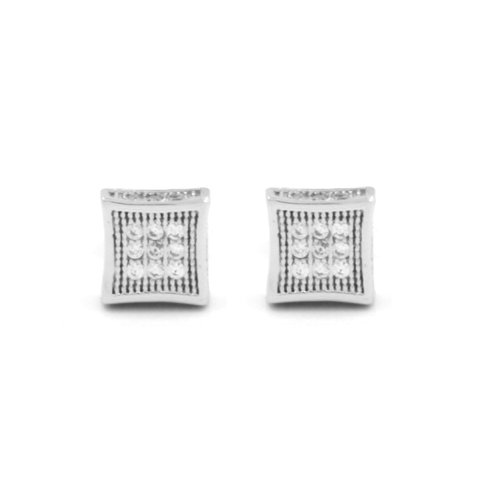 Mens 14K White Gold Finished Silver Stud Cube Kite Earring 6Mm Lab Diamonds