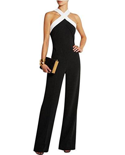 Aro Lora Women's Halter Neck Criss Cross Wide Leg Long Pants Jumpsuits Rompers Medium Black (Cocktail Pant Suits compare prices)