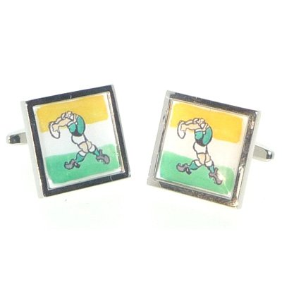 Mens Funky Stylish Fashion Novelty Sports Theme Irish Rugby Player Cufflinks With Gift Box - A Great Christmas, Birthday, Valentine, Anniversary, Wedding Gift For Husbands, Fathers, Boyfriends, Friends And Work Colleagues