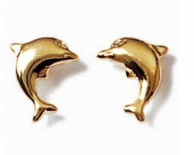 Simply Glamorous Jewellery And Gifts Shop - 18ct Gold Filled Stud Dolphin Earrings Children/Women