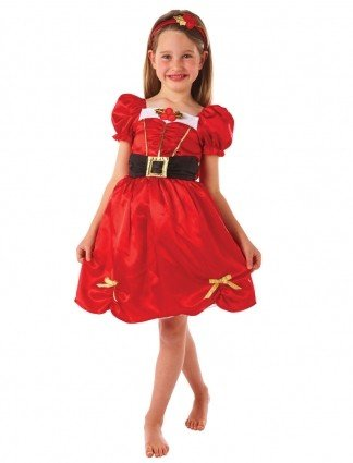 Kids childrens miss santa mrs claus fancy dress christmas costume