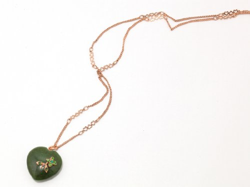 Israeli Amaro Jewelry Studio 'Deep Forest' Collection Aventurine Heart Pendant Necklace Accented with Swarovski Crystals; 24K Rose Gold Plated