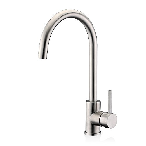 Efluky SUS304 Stainless Steel Single Handle Kitchen Sink Faucet,Hot and Cold Mix Faucet (Kitchen Faucet Hot Cold compare prices)
