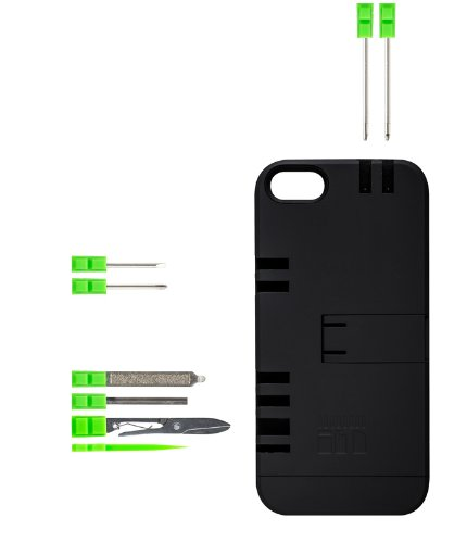 IN1 Multi Tool Case for iPhone 5 - Retail Packaging - Black with Green tools